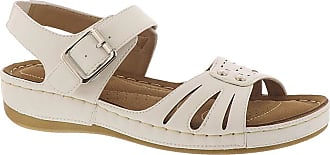 Easy Street Womens Rosalyn Flat Sandal, White, 7.5 X-Wide