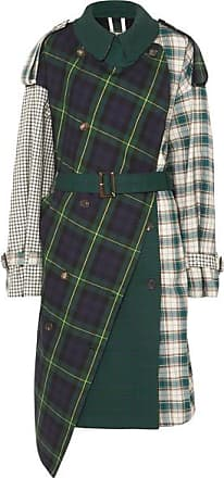 pushBUTTON Asymmetric Paneled Checked Cotton-twill Trench Coat - Navy