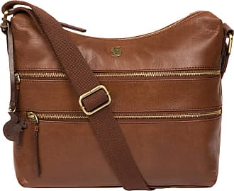 Pure Luxuries London Conkca London Georgia Womens 29cm Biodegradable Leather Shoulder Bag with Zip Over Top, 100% Cotton Lining and Adjustable Webbed Canvas Strap in Conke