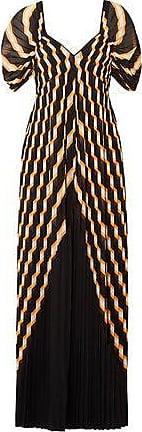 By Malene Birger By Malene Birger Woman Alvima Pleated Striped Chiffon Maxi Dress Black Size 32