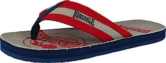 Lonsdale Mens Grey / Red Flip Flops Sandal Pool Shoes Size 7 - 12, Grey/Red, 9 UK