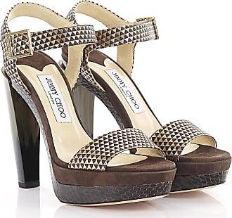 6eeacf475a Jimmy Choo London Sandals Dora Plateau leather gold metallic suede brown  python print