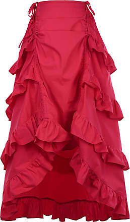 Belle Poque Rainy Night in London Victorian Gothic Ruffle Steampunk Vintage Style Skirt XL Red