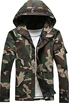 H&E Men Camouflage Printed Windbeaker Coat Hoodie Lightweigth Outdoor Jackets Camo Green M