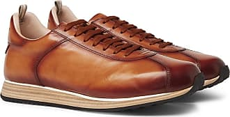 Officine Creative Keino Polished-leather Sneakers - Brown