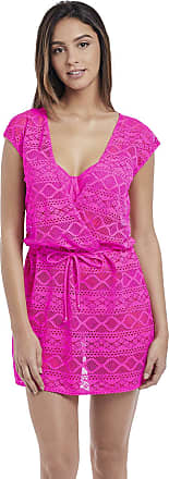 Freya Womens Sundance Cross Over Swim Dress, L, Hot Pink