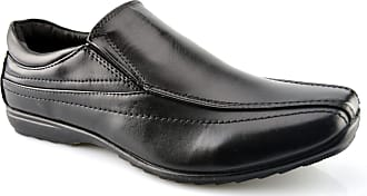 US Brass Mens New Slip On Office Work Back to School Twin Gusset Formal Shoes Size 7-12 - Black - UK 10