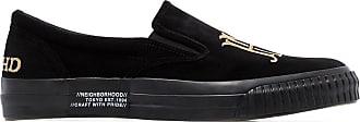 Neighborhood logo-print velvet sneakers - Black