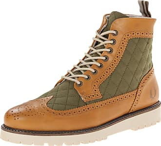 Fred Perry Ankle Boots Fred perr Man Brown and Green, Northgate Boot Quilted Canvas, Brown, 41 EU