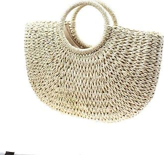 YYW Straw Bag for Women Summer Handwoven Tote Bag Rattan Handbag Boho Style Drawstring Closure Clutch Purse for Beach Travel Daily Use (Beige)