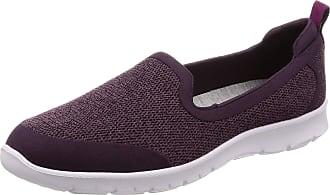 Clarks Ladies Slip On Sporty Loafers Step Allena Lo - Aubergine Textile - UK Size 7.5D - EU Size 41.5 - US Size 10M