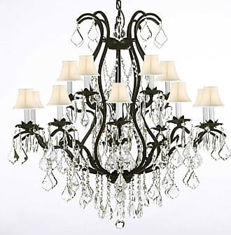 Gallery T40-637 Versailles 15 Light 2 Tier Wrought Iron and Crystal