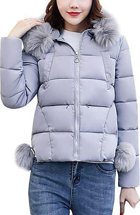 FNKDOR Womens Ladies Quilted Winter Coat Puffer Fur Collar Hooded Jacket Parka Coat