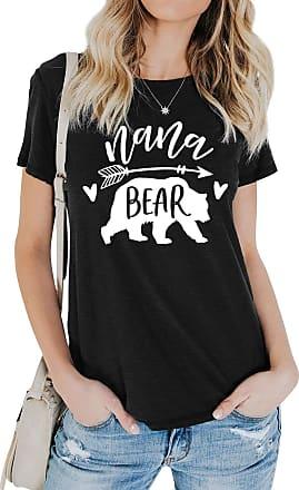 Dresswel Women Nana Bear T-Shirt Bear Graphic Print T Shirt Crew Neck Short Sleeve Tee Tops Black