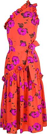 Borgo De Nor Vestido assimétrico com estampa floral - Laranja
