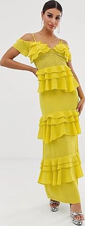 Forever Unique Vestito lungo giallo a balze con pannelli