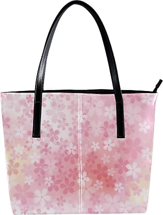 Nananma Womens Bag Shoulder Tote handbag with Cherry Blossoms In Full Bloom Print Zipper Purse PU Leather Top-handle Zip Bags