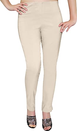 Eyecatch Eye Catch - Ladies Pull On Straight Smooth Super Stretch Elasticated Trousers Womens Pants Beige Size 20