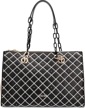 Liu Jo Women Handbag - Double Zip Satchel, Logo, Diamond Pattern 34x26x16cm (HxWxD) (Black)