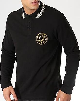 81277c761f3f9 Versace Jeans Couture Polo Manches Longues B3GTA7P2 Noir Doré