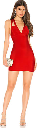 Superdown Larsa Deep V Bodycon Dress in Red