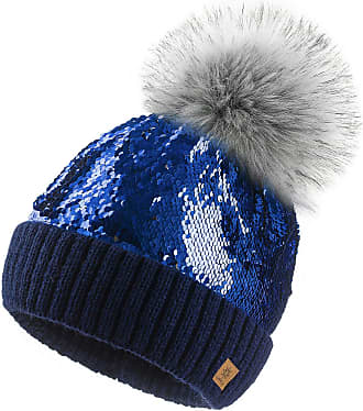 4sold Ladies Womens Sequins Beanie Warm Winter Bobble Faux Fur Pom Pom Wooly Fashion - Blue