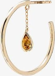 Yvonne Léon Womens 9k Yellow Gold Creole Pampille Citrine Hoop Earring