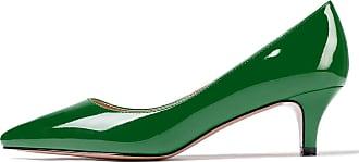 EDEFS Womens Pointed Toe Mid Heel Court Shoes Slip On Classic Office Dress Pumps Green EU41