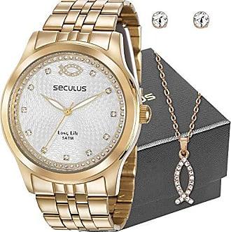 Seculus Kit Relógio Seculus Feminino Dourado Peixe Cristão Com Colar