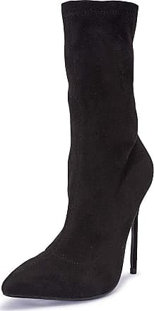 Truffle Womens Black Stretch Lycra High Heel Pointed Ankle Boots - Black - UK 7