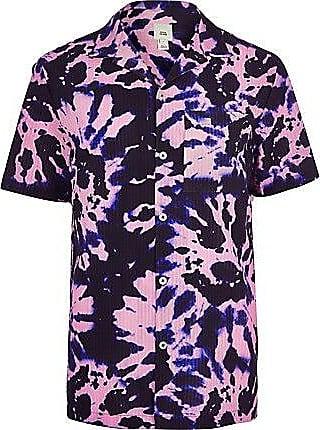 River Island Mens Purple tie dye chest pocket shirt