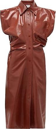 Bottega Veneta Wide-shoulder Leather Shirt Dress - Womens - Dark Red