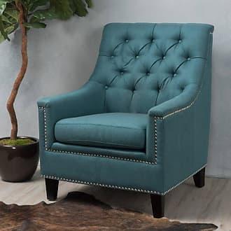 BEST SELLING HOME Jasline Fabric Tufted Club Chair Dark Teal - 300041