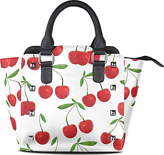 NaiiaN Leather Chic Fres Cherries Handbags Bulldog Shoulder Bags Tote Bag for Women Girls Ladies Student Light Weight Strap Purse Shopping