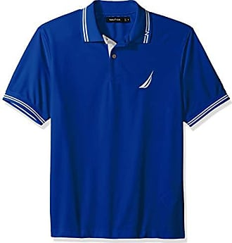 Nautica Mens Performance Wicking and Stain Resistant Solid Polo Shirt, Bright Cobalt, Medium