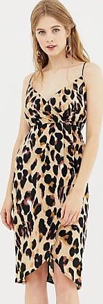 Qed London Trägerkleid mit Wicklung vorn, im Leopardenmuster bedruckt-Braun