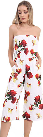 Momo & Ayat Fashions Ladies Lightweight Strapless Culotte Bandeau Short Cropped Jumpsuit Bardot Playsuit UK Size 8-26 (L/XL (UK 16-18), Cream Floral)