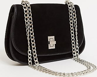 Urban Code suede cross body bag with weave edges in black