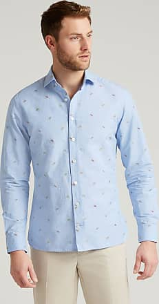Hackett Summer Hat Embroidered Cotton Shirt   Medium   Blue