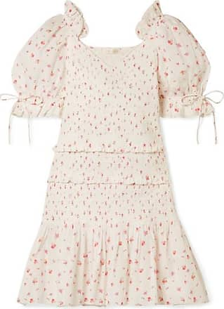 LoveShackFancy Tina Smocked Ruffled Floral-print Cotton Dress - White