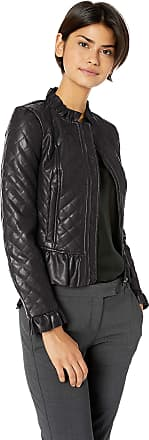 French Connection Womens Vegan Leather Jackets Faux, Black Ruffle, 8