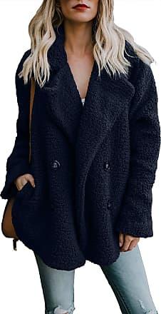 Yidarton Womens Winter Teddy Bear Coat Ladies Fuzzy Fleece Lapel Long Sleeve Outwear Jacket Cardigan (Navy, XX-Large)