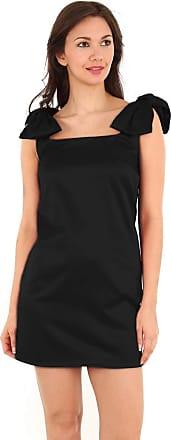 True Face Ladies Dress Shoulder Bows Sleeveless Midi Bodycon Party Prom Wear Black UK 10