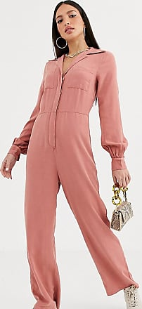 Asos Tall ASOS DESIGN Tall denim soft drape jumpsuit with longsleeve in terracotta-Orange