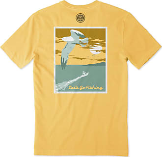 Life is good Mens Lets Go Fishing Crusher Tee XXXL Baja Yellow