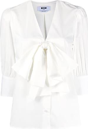 Msgm oversized bow cropped sleeve shirt - White