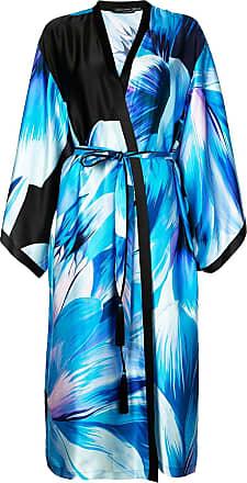 Natori printed belted midi coat - Blue
