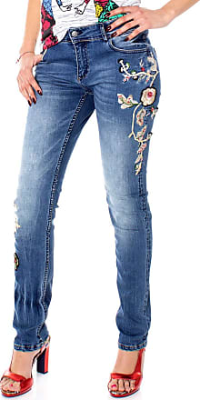 Desigual Womens Blue Barcelona Flowers Embroidered Jeans 34