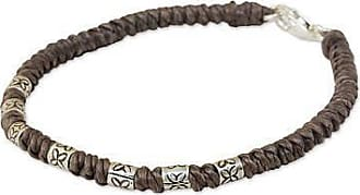 Novica Silver accent wristband bracelet, Happy Flower in Taupe