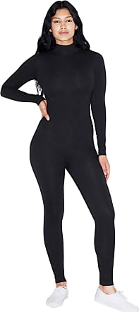American Apparel Womens Cotton Spandex Long Sleeve Turtleneck Catsuit Bodystocking, Black, S